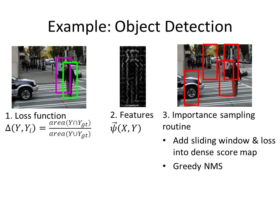 Example: Object Detection 3. Importance sampling routine Add sliding window & loss into dense score map Greedy NMS