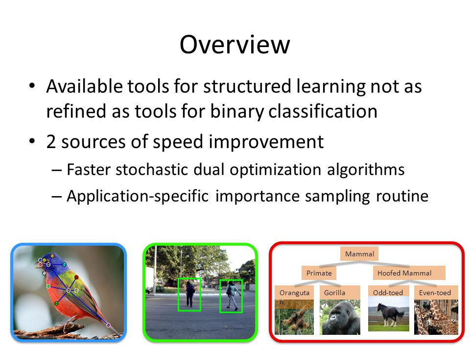 Overview Available tools for structured learning not as refined as tools for binary classification 2 sources of speed improvement – Faster stochastic