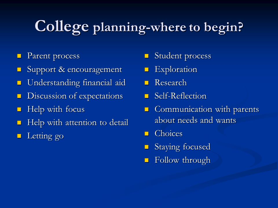 College planning-where to begin.