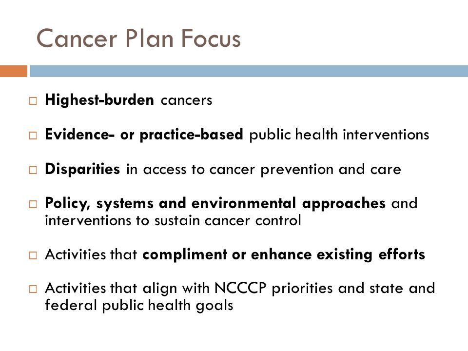 Cancer Plan Focus  Highest-burden cancers  Evidence- or practice-based public health interventions  Disparities in access to cancer prevention and care  Policy, systems and environmental approaches and interventions to sustain cancer control  Activities that compliment or enhance existing efforts  Activities that align with NCCCP priorities and state and federal public health goals