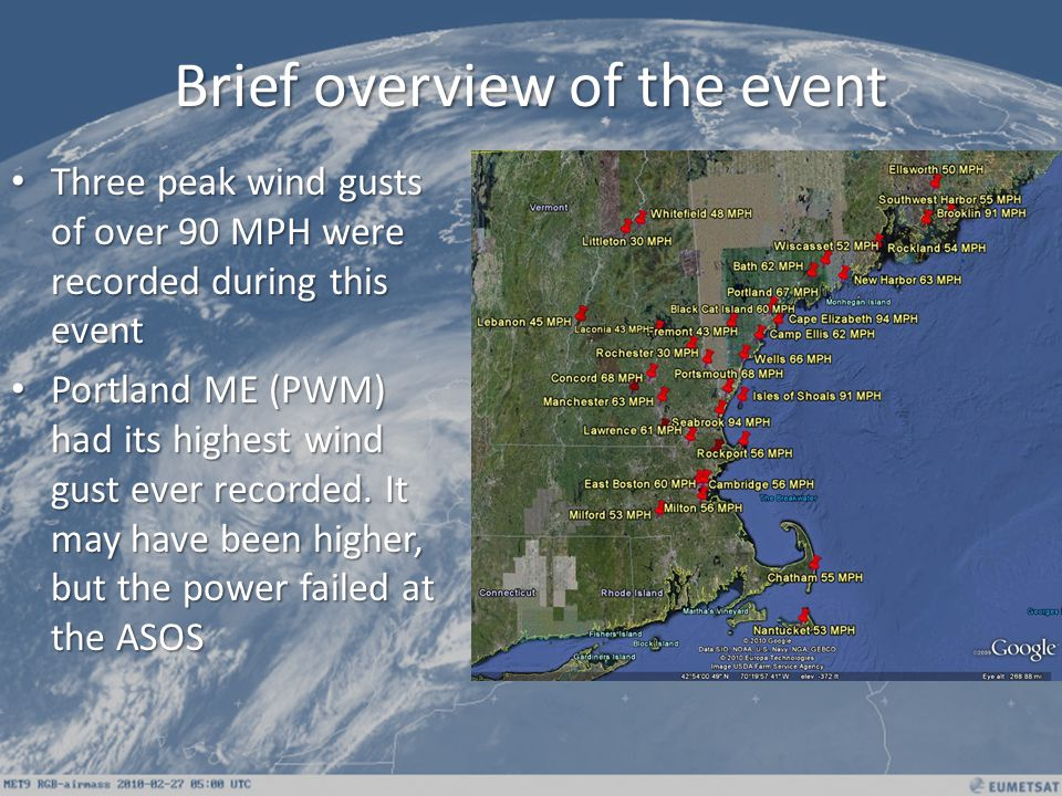 The highest wind speeds occurred with surface trough between 1100 PM and 200 AM across southeast New Hampshire and southern Maine.