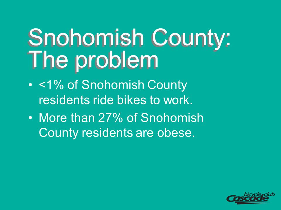 Snohomish County: The problem <1% of Snohomish County residents ride bikes to work. More than 27% of Snohomish County residents are obese.