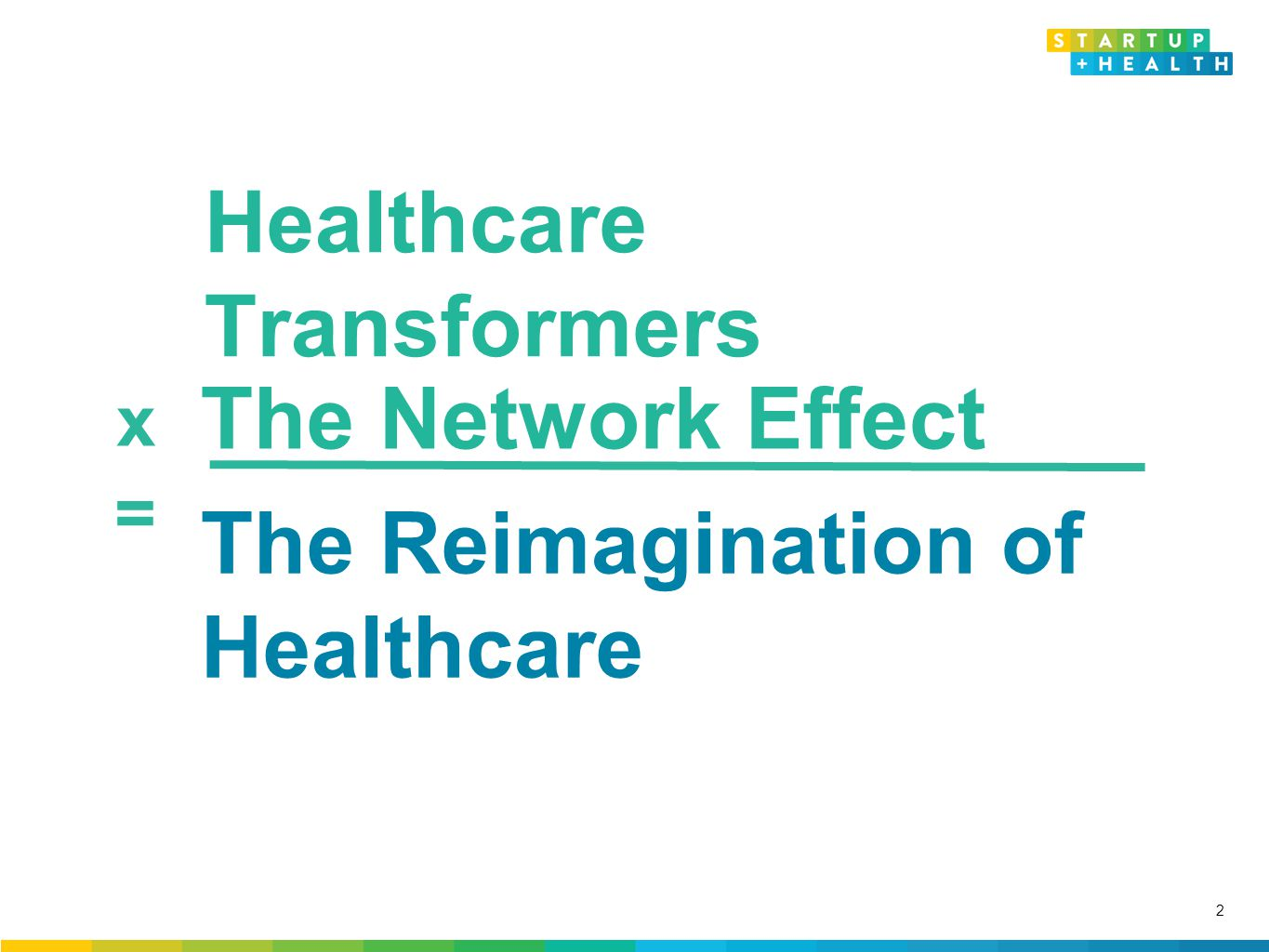 Confidential and Proprietary x = Healthcare Transformers The Reimagination of Healthcare The Network Effect 2