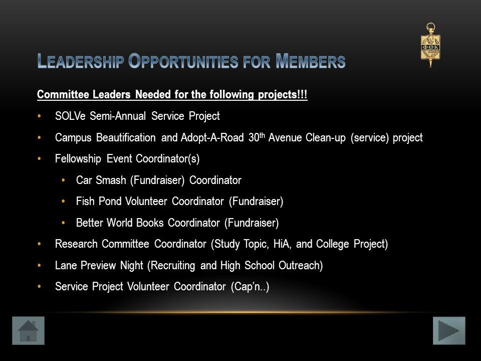 Committee Leaders Needed for the following projects!!.