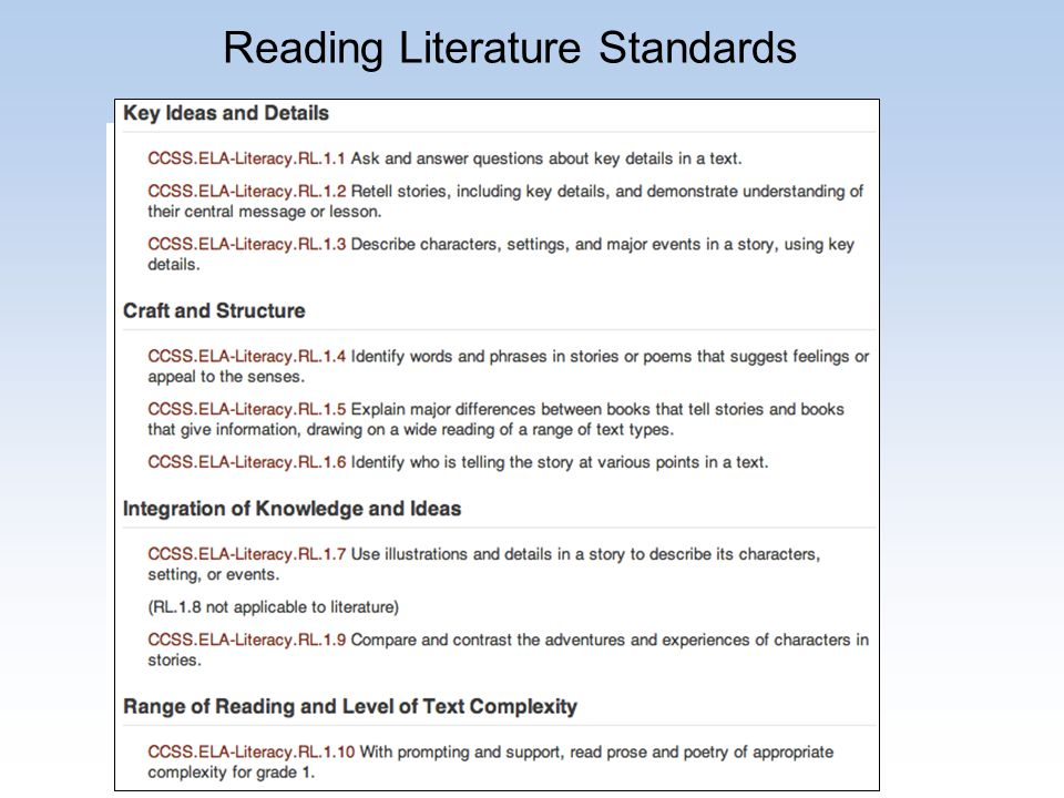 Reading Literature Standards