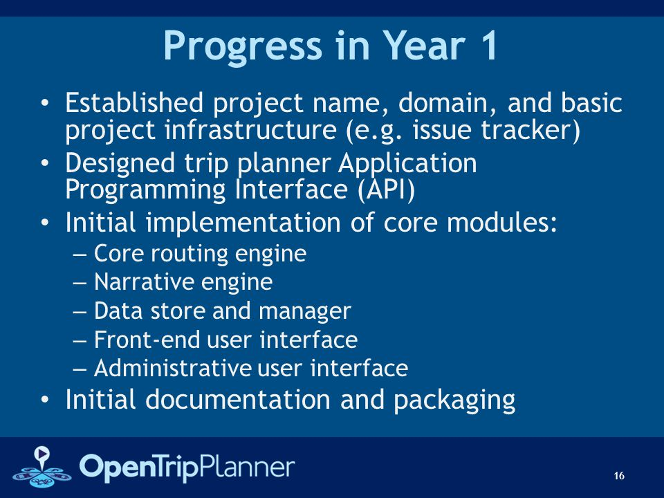 Progress in Year 1 Established project name, domain, and basic project infrastructure (e.g. issue tracker) Designed trip planner Application Programmi