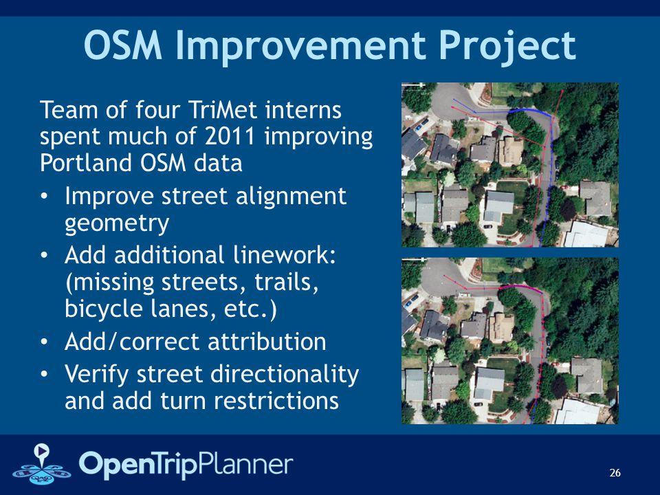 OSM Improvement Project Team of four TriMet interns spent much of 2011 improving Portland OSM data Improve street alignment geometry Add additional li