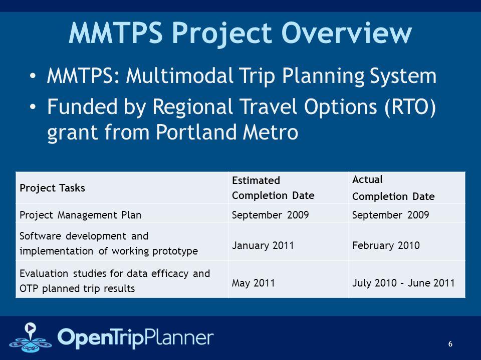 MMTPS Project Overview Project Tasks Estimated Completion Date Actual Completion Date Project Management Plan September 2009 September 2009 Software d