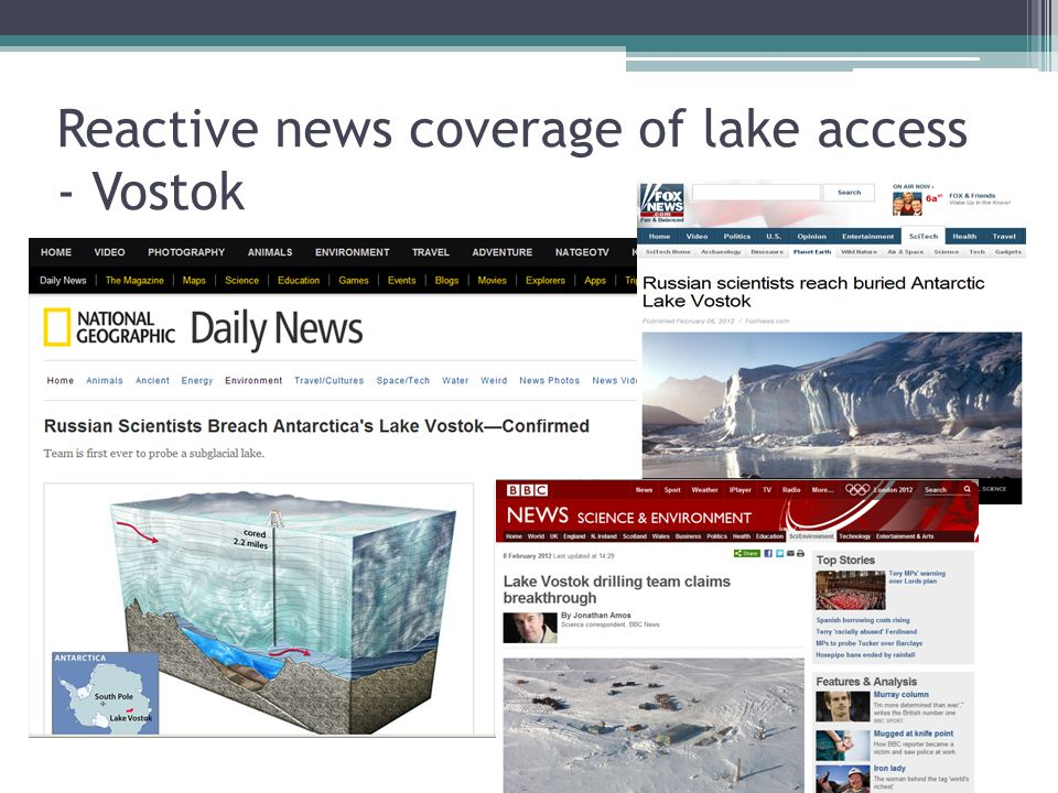 Reactive news coverage of lake access - Vostok