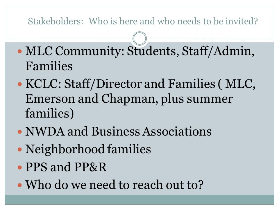 Stakeholders: Who is here and who needs to be invited? MLC Community: Students, Staff/Admin, Families KCLC: Staff/Director and Families ( MLC, Emerson