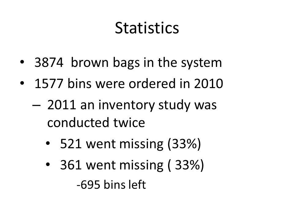 Statistics 3874 brown bags in the system 1577 bins were ordered in 2010 – 2011 an inventory study was conducted twice 521 went missing (33%) 361 went missing ( 33%) -695 bins left
