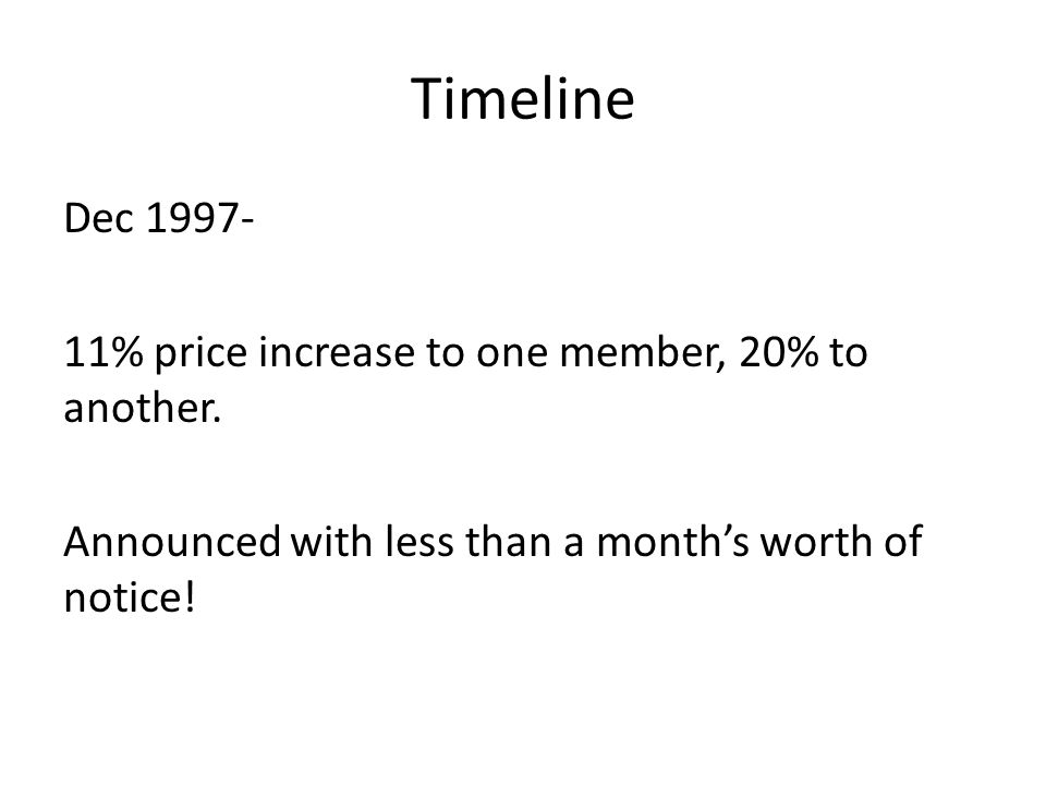 Timeline Dec 1997- 11% price increase to one member, 20% to another.