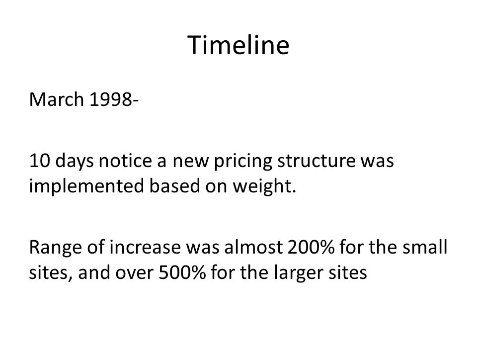Timeline March 1998- 10 days notice a new pricing structure was implemented based on weight.