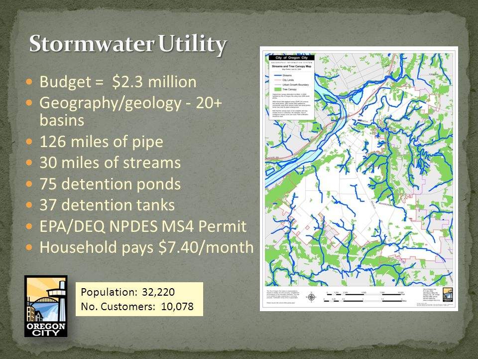 Budget = $2.3 million Geography/geology - 20+ basins 126 miles of pipe 30 miles of streams 75 detention ponds 37 detention tanks EPA/DEQ NPDES MS4 Permit Household pays $7.40/month Population: 32,220 No.
