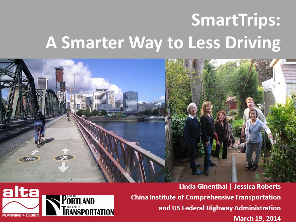 SmartTrips: A Smarter Way to Less Driving Linda Ginenthal | Jessica Roberts China Institute of Comprehensive Transportation and US Federal Highway Administration March 19, 2014