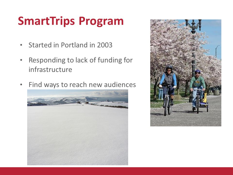 SmartTrips Program Started in Portland in 2003 Responding to lack of funding for infrastructure Find ways to reach new audiences