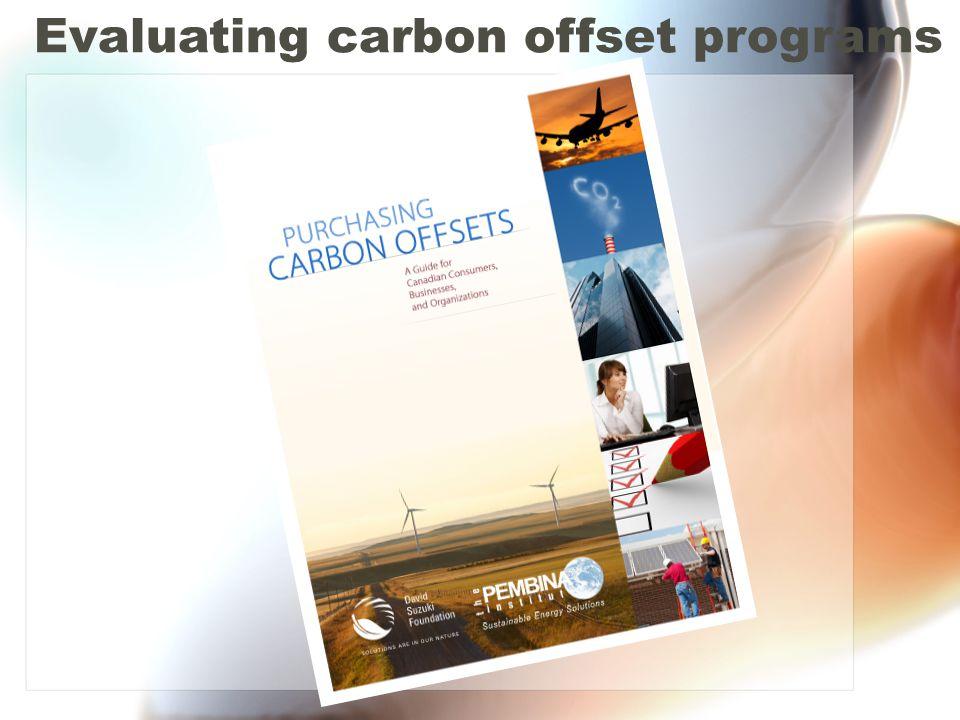 Evaluating carbon offset programs
