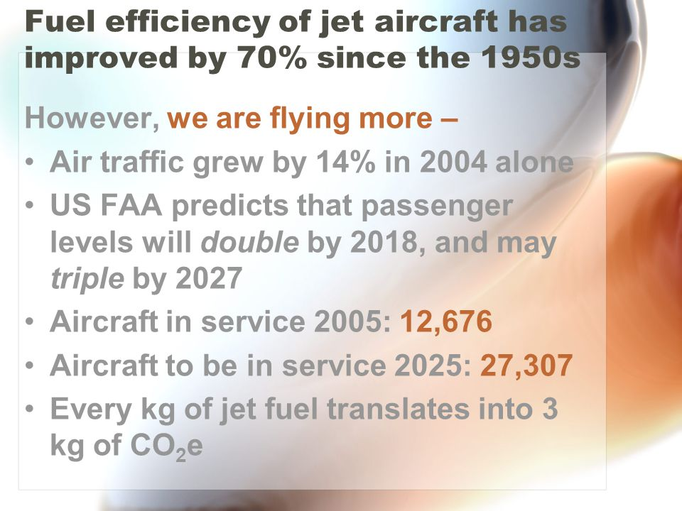 Fuel efficiency of jet aircraft has improved by 70% since the 1950s However, we are flying more – Air traffic grew by 14% in 2004 alone US FAA predicts that passenger levels will double by 2018, and may triple by 2027 Aircraft in service 2005: 12,676 Aircraft to be in service 2025: 27,307 Every kg of jet fuel translates into 3 kg of CO 2 e