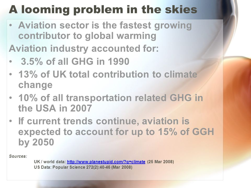 A looming problem in the skies Aviation sector is the fastest growing contributor to global warming Aviation industry accounted for: 3.5% of all GHG in 1990 13% of UK total contribution to climate change 10% of all transportation related GHG in the USA in 2007 If current trends continue, aviation is expected to account for up to 15% of GGH by 2050 Sources: UK / world data: http://www.planestupid.com/?q=climate (25 Mar 2008)http://www.planestupid.com/?q=climate US Data: Popular Science 272(2):40-46 (Mar 2008)