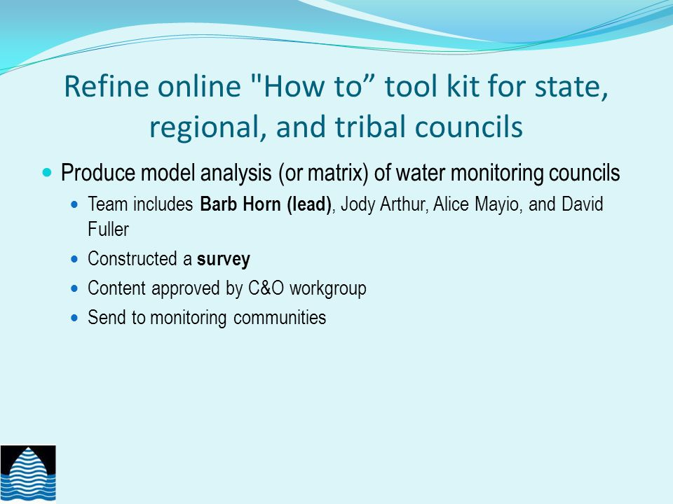 Refine online How to tool kit for state, regional, and tribal councils Produce model analysis (or matrix) of water monitoring councils Team includes Barb Horn (lead), Jody Arthur, Alice Mayio, and David Fuller Constructed a survey Content approved by C&O workgroup Send to monitoring communities