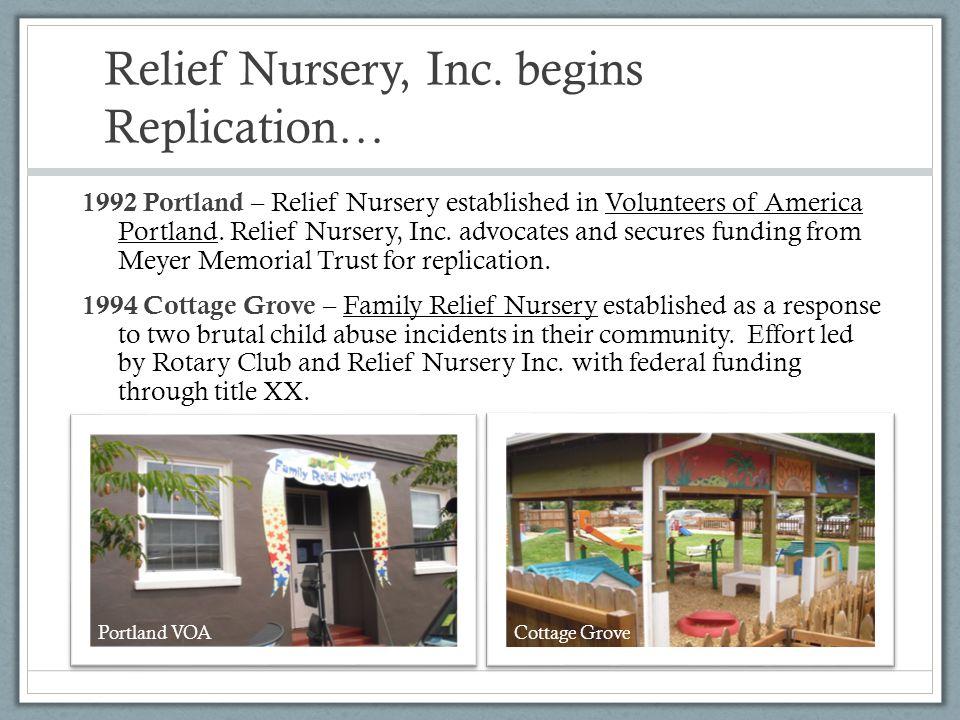 Relief Nursery, Inc. begins Replication… 1992 Portland – Relief Nursery established in Volunteers of America Portland. Relief Nursery, Inc. advocates