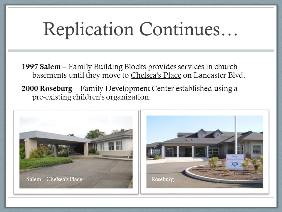 Replication Continues… 1997 Salem – Family Building Blocks provides services in church basements until they move to Chelsea s Place on Lancaster Blvd.