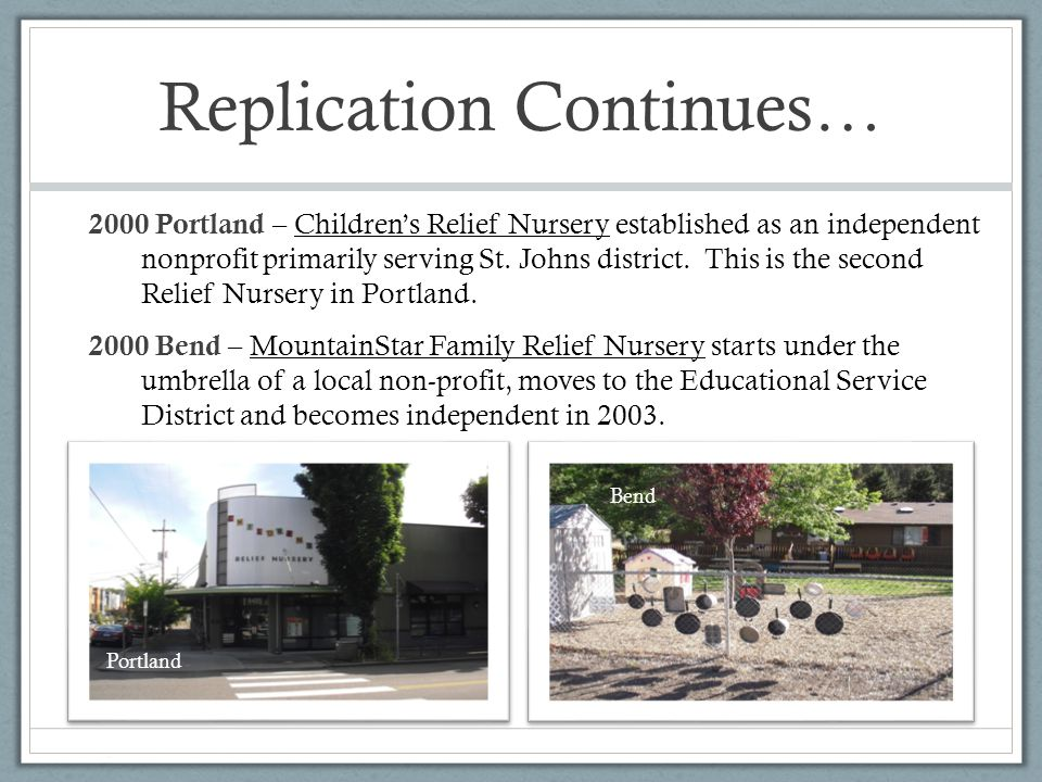 Replication Continues… 2000 Portland – Children's Relief Nursery established as an independent nonprofit primarily serving St.