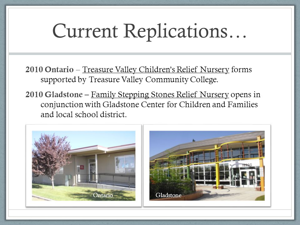 Current Replications… 2010 Ontario – Treasure Valley Children's Relief Nursery forms supported by Treasure Valley Community College.
