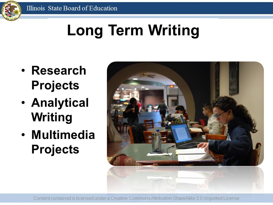 Long Term Writing Research Projects Analytical Writing Multimedia Projects Content contained is licensed under a Creative Commons Attribution-ShareAli