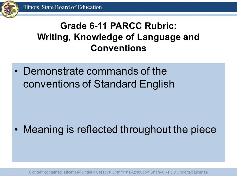 Grade 6-11 PARCC Rubric: Writing, Knowledge of Language and Conventions Demonstrate commands of the conventions of Standard English Meaning is reflect