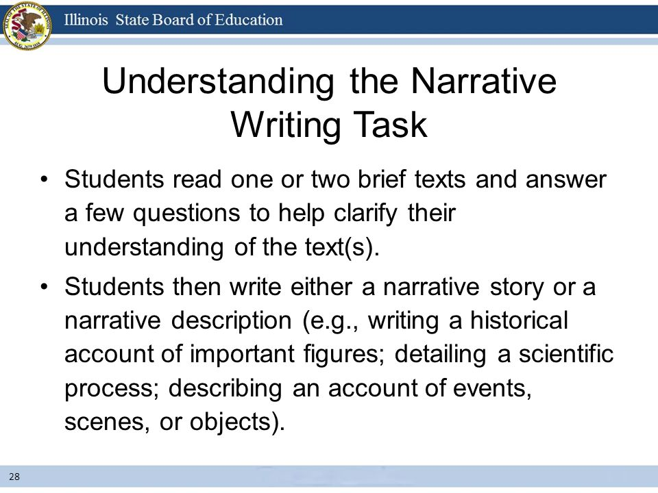 Students read one or two brief texts and answer a few questions to help clarify their understanding of the text(s). Students then write either a narra