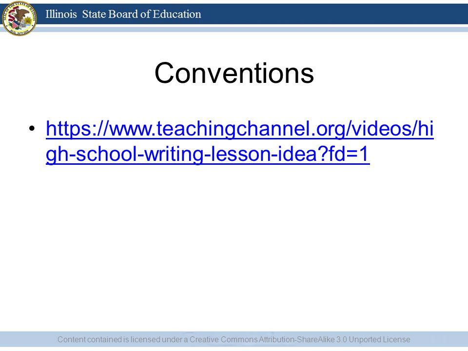 Conventions https://www.teachingchannel.org/videos/hi gh-school-writing-lesson-idea?fd=1https://www.teachingchannel.org/videos/hi gh-school-writing-le