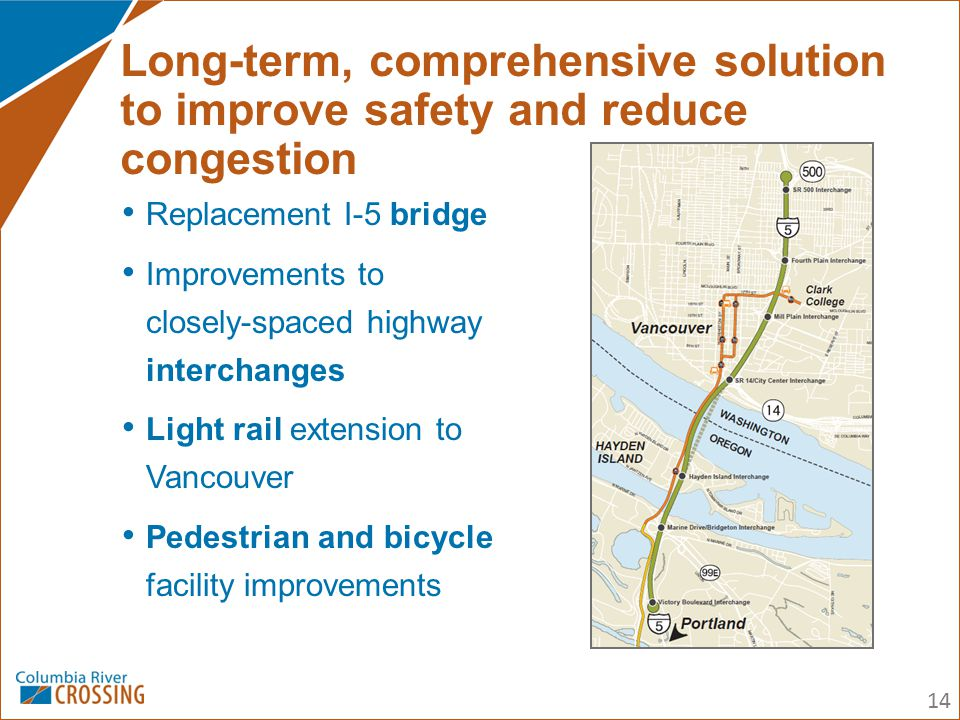 Replacement I-5 bridge Improvements to closely-spaced highway interchanges Light rail extension to Vancouver Pedestrian and bicycle facility improveme