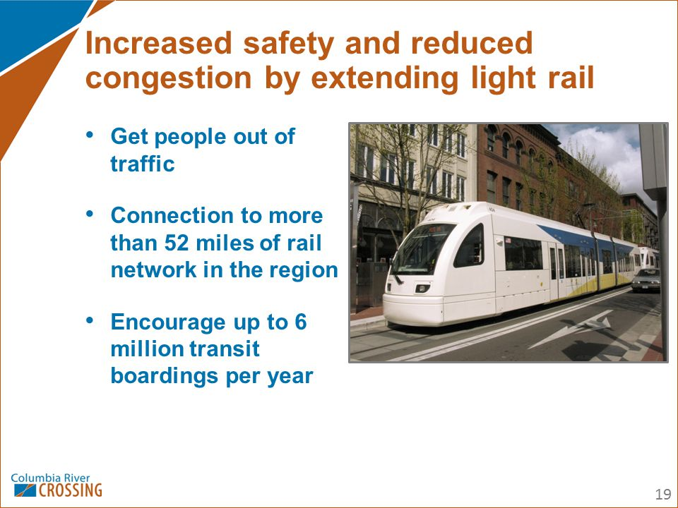 Get people out of traffic Connection to more than 52 miles of rail network in the region Encourage up to 6 million transit boardings per year Increase