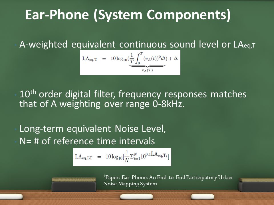 A-weighted equivalent continuous sound level or LA eq,T 10 th order digital filter, frequency responses matches that of A weighting over range 0-8kHz.