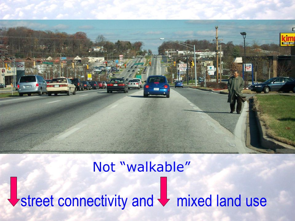 Not walkable street connectivity and mixed land use