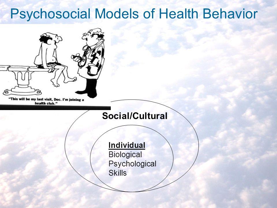 Psychosocial Models of Health Behavior Individual Biological Psychological Skills Social/Cultural