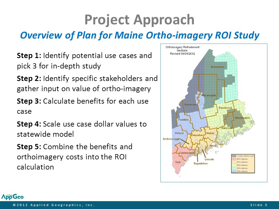 ©2012 Applied Geographics, Inc.Slide 24 Findings Return on Investment by Use Case USE CASE BENEFITS (Lo/Hi)NPVROI Stormwater $9,879,481$9,877,0704.10 $26,134,258$23,722,6929.84 Forestry $1,505,690($905,876)-0.38 $4,664,035$2,252,4690.93 Transportation $1,630,770($780,796)-0.32 $2,886,780$475,2140.20 Combined $13,015,941$10,501,0984.35 $33,685,073$31,006,20112.86
