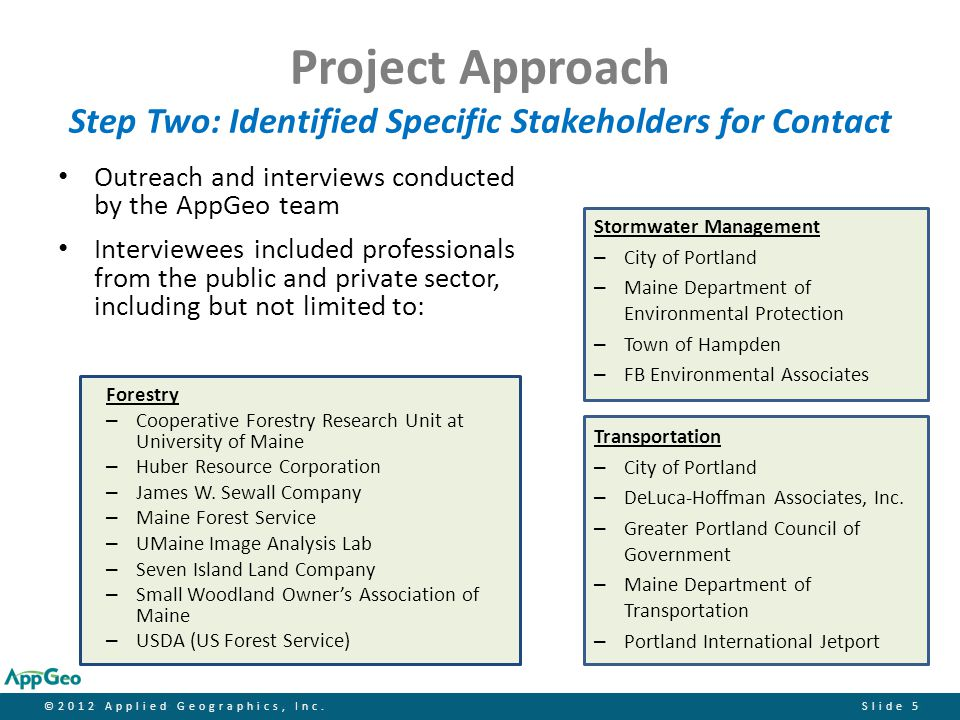 ©2012 Applied Geographics, Inc.Slide 6 Project Approach Step Three: Calculated Benefits Based on Input From Interviews Actual examples of benefits from case studies included: – Cost avoidance – Revenue generation – Increased productivity – Higher quality results – Time savings