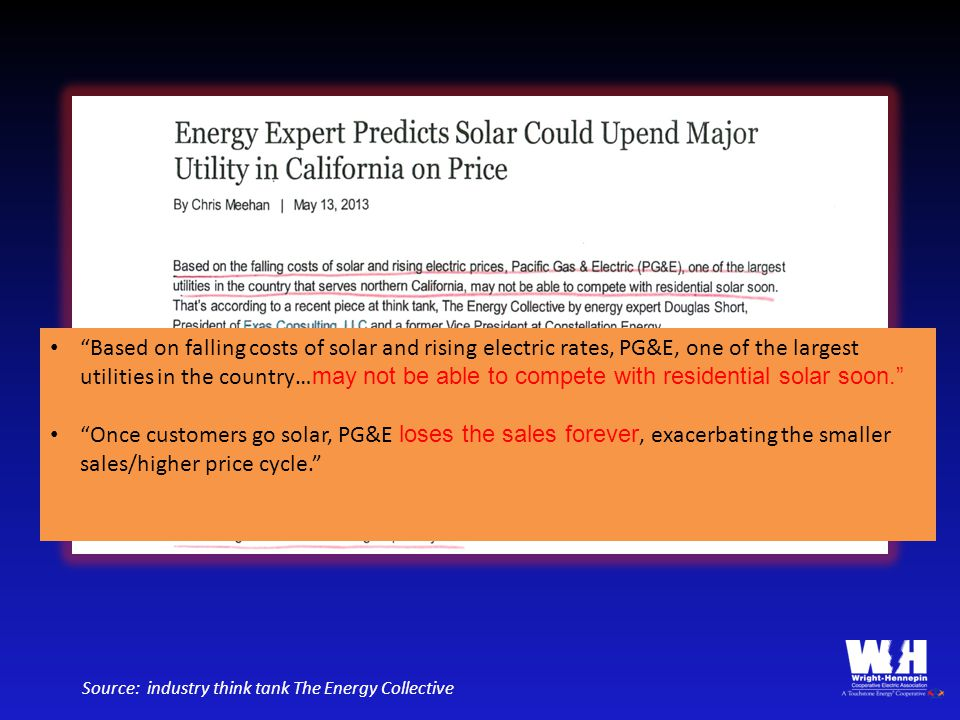 """""""Based on falling costs of solar and rising electric rates, PG&E, one of the largest utilities in the country… may not be able to compete with residen"""