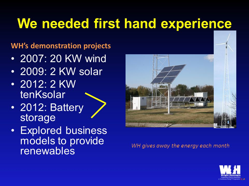 We needed first hand experience 2007: 20 KW wind 2009: 2 KW solar 2012: 2 KW tenKsolar 2012: Battery storage Explored business models to provide renewables WH gives away the energy each month WH's demonstration projects