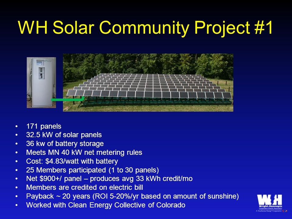 WH Solar Community Project #1 171 panels 32.5 kW of solar panels 36 kw of battery storage Meets MN 40 kW net metering rules Cost: $4.83/watt with battery 25 Members participated (1 to 30 panels) Net $900+/ panel – produces avg 33 kWh credit/mo Members are credited on electric bill Payback ~ 20 years (ROI 5-20%/yr based on amount of sunshine) Worked with Clean Energy Collective of Colorado