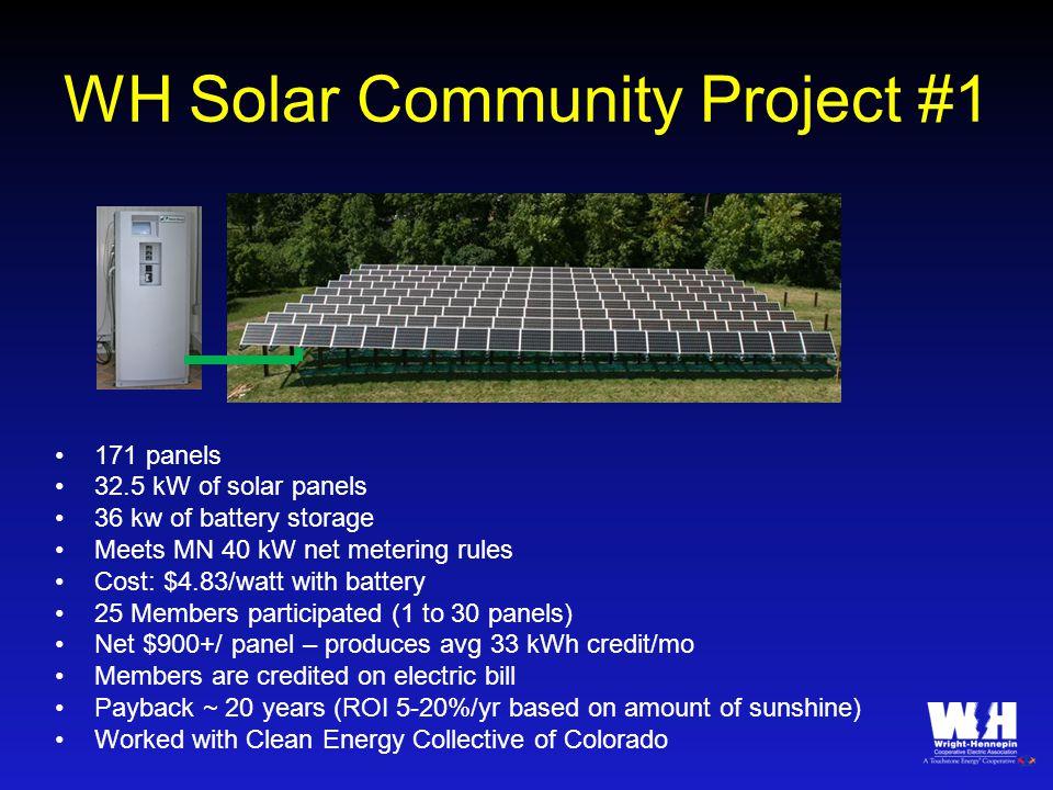 WH Solar Community Project #1 171 panels 32.5 kW of solar panels 36 kw of battery storage Meets MN 40 kW net metering rules Cost: $4.83/watt with batt
