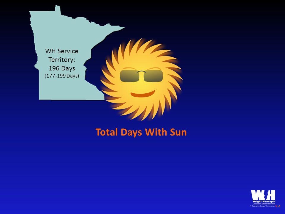 WH Service Territory: 196 Days (177-199 Days) Salem: 157 Days Portland: 142 Days Eugene: 157 Days Pendleton: 192 Days Burns: 214 Days (142-214 Days) Total Days With Sun