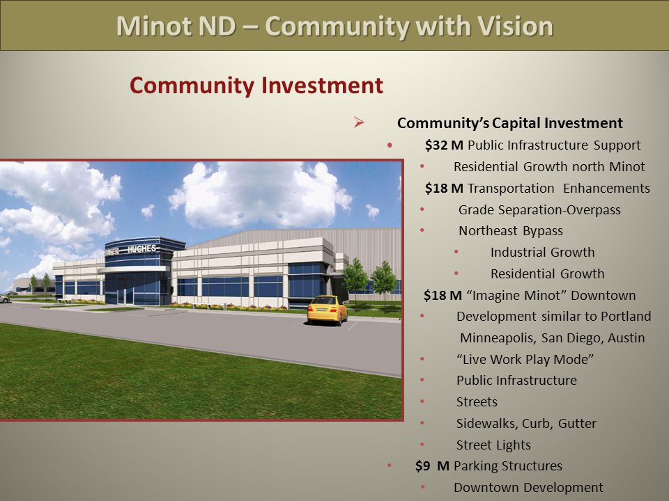 Minot ND – Community with Vision Community Investment  Community's Capital Investment $32 M Public Infrastructure Support Residential Growth north Minot $18 M Transportation Enhancements Grade Separation-Overpass Northeast Bypass Industrial Growth Residential Growth $18 M Imagine Minot Downtown Development similar to Portland Minneapolis, San Diego, Austin Live Work Play Mode Public Infrastructure Streets Sidewalks, Curb, Gutter Street Lights $9 M Parking Structures Downtown Development