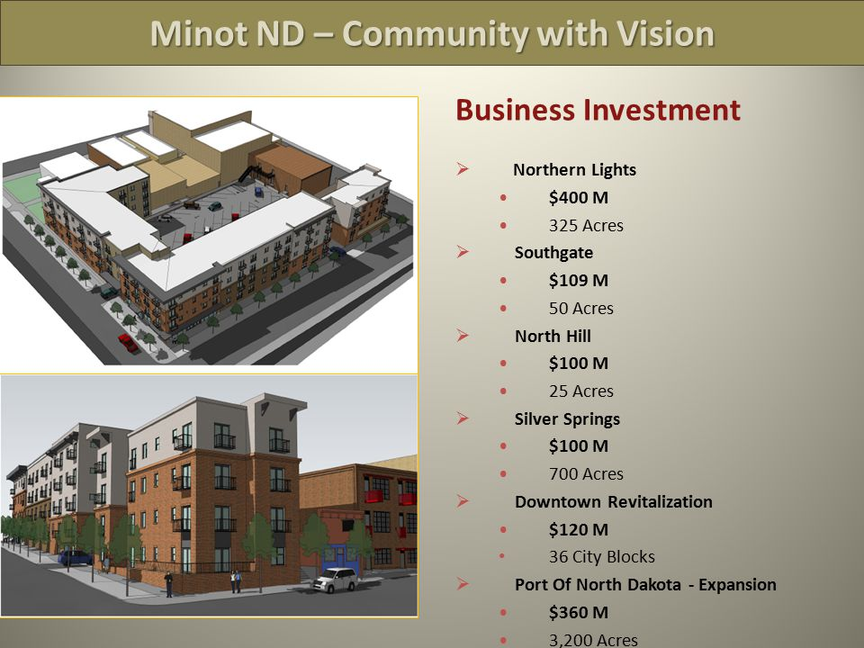 Minot ND – Community with Vision Business Investment  Northern Lights $400 M 325 Acres  Southgate $109 M 50 Acres  North Hill $100 M 25 Acres  Silver Springs $100 M 700 Acres  Downtown Revitalization $120 M 36 City Blocks  Port Of North Dakota - Expansion $360 M 3,200 Acres