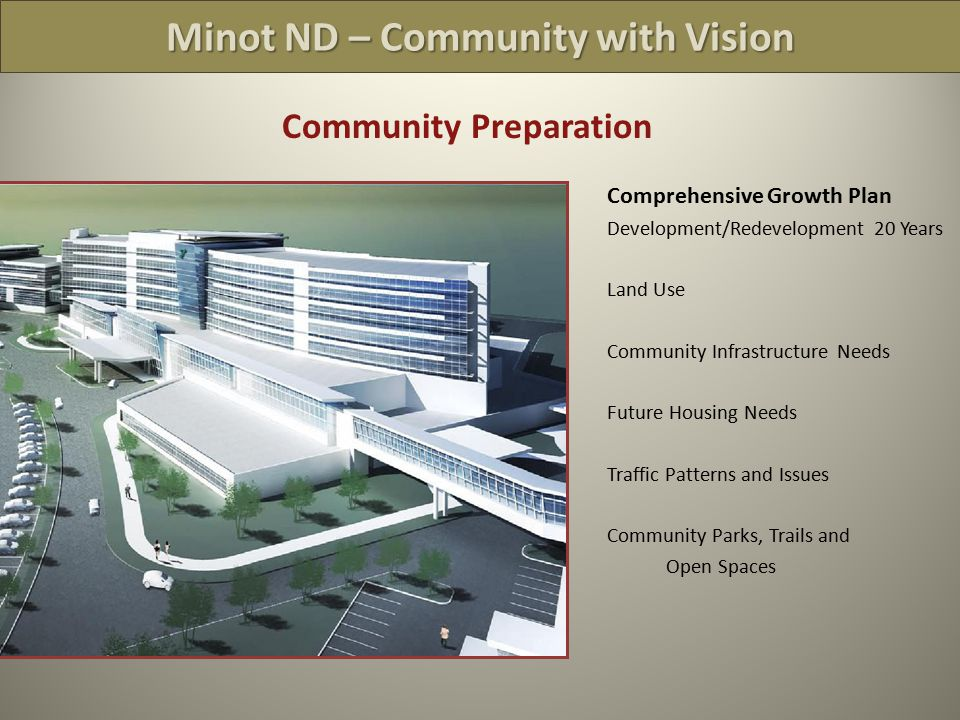 Minot ND – Community with Vision Community Preparation  Comprehensive Growth Plan Development/Redevelopment 20 Years Land Use Community Infrastructure Needs Future Housing Needs Traffic Patterns and Issues Community Parks, Trails and Open Spaces Omit Sprawl