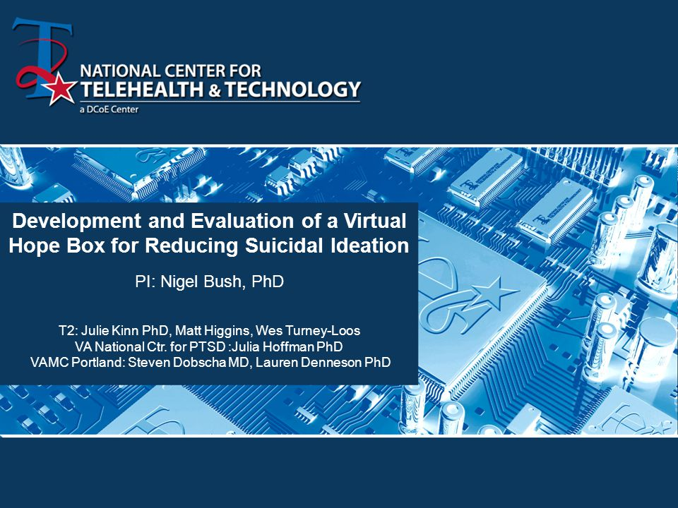 Development and Evaluation of a Virtual Hope Box for Reducing Suicidal Ideation PI: Nigel Bush, PhD T2: Julie Kinn PhD, Matt Higgins, Wes Turney-Loos VA National Ctr.