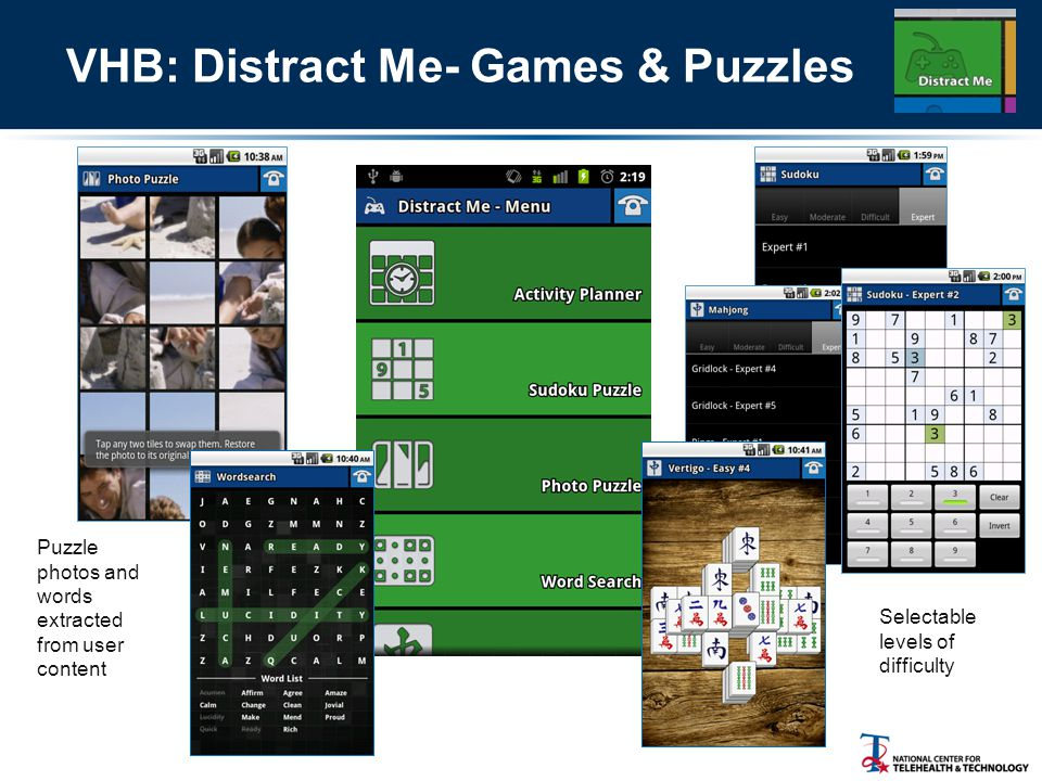 VHB: Distract Me- Games & Puzzles Puzzle photos and words extracted from user content Selectable levels of difficulty
