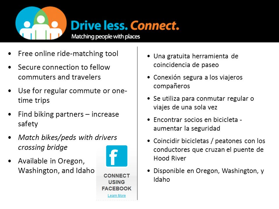 Free online ride-matching tool Secure connection to fellow commuters and travelers Use for regular commute or one- time trips Find biking partners – increase safety Match bikes/peds with drivers crossing bridge Available in Oregon, Washington, and Idaho Una gratuita herramienta de coincidencia de paseo Conexión segura a los viajeros compañeros Se utiliza para conmutar regular o viajes de una sola vez Encontrar socios en bicicleta - aumentar la seguridad Coincidir bicicletas / peatones con los conductores que cruzan el puente de Hood River Disponible en Oregon, Washington, y Idaho